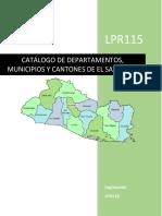 Catálogo de Departamentos, municipios y cantones
