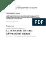EL CLIMA LABORAL TEMA N° 2 DE LA ESCUELA DE PADRES