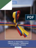 Informe de Homicidios Contra Líderes Sociales y Defensores de Derechos Humanos