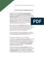 Psicología Social de Las Organizaciones