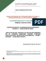 Bases Concurso Oferta IE Primaria, San Marcos, Ancash