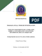 Trabajo de investigación sobre la contaminación en Lambayeque 2018