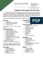 middle school supply list 2019-2020  grades 6-8