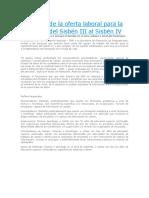 Haz Parte de La Oferta Laboral Para La Transición Del Sisbén III Al Sisbén IV
