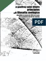 Etienne Geoffroy Saint-Hilaire - Principios de Filosofía Zoológica