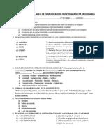 Evaluacion Escrita Del Area de Comunicacion Quinto Grado de Secundaria