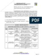 Edital de Abertura Ead Nº 01 de 12 de Fevereiro de 2019 Professor Formador e Tutor a Distância Retificação 1