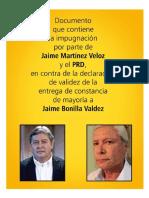 Impugnacion de Jaime Veloz (PRD) vs Jaime Bonilla (MORENA)