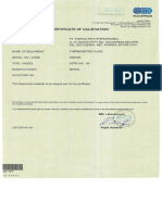 Certificate of Calibration Sucofindo ASTM 34C