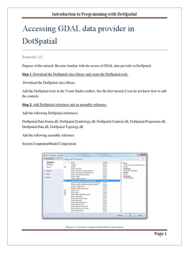 DotSpatial Tutorials DotSpatial 9 GDAL | Biblioteca
