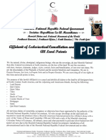 Affidavit of Ecclesiastical Cancellation and Abolishment Of All Land Patents