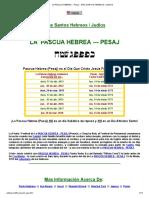 La Pascua Hebrea -- Pesaj -- Días Santos Hebreos _ Judios
