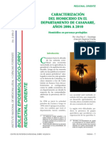 Caracterización Del Homicidio en El Departamento de Casanare, Años 2006 a 2010.