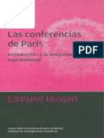 Husserl Edmund Las Conferencias de Paris Introduccion a La Fenomenologia Trascendental