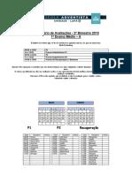 2019 Calendário de Provas EM 2 Bimestre