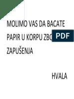MOLIOMO VAS DA BACATE PAPIR U KORPU ZBOG ZAPUŠENJA.docx