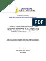 Pedro Aguilar - Desde una perspectiva microeconómica, ¿cómo incrementar la competitividad de las Pymes del sector industrial manufacturero y de servicios en Colombia?