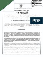 DECRETO 229 DEL 14 FEBRERO de 2017 Inscrpcion Actualizacion Suspension RNT