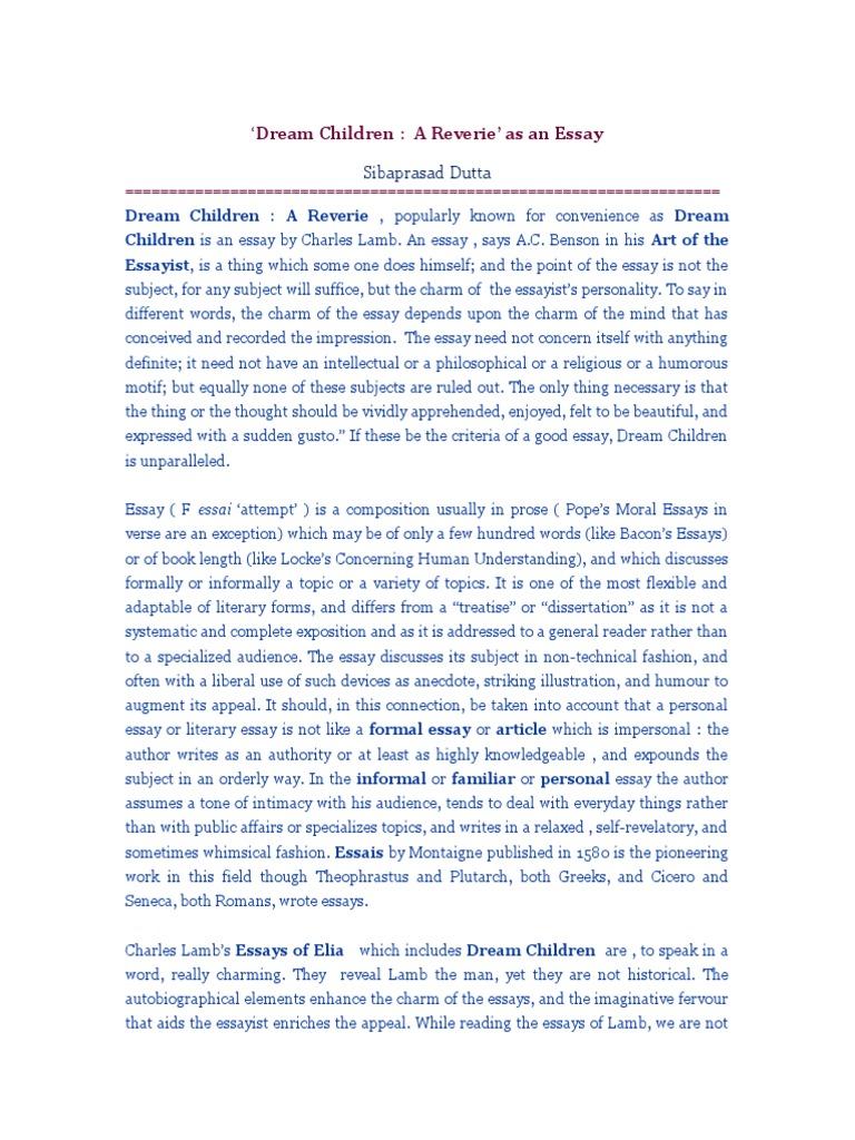 Charles Lamb As An Essayist • English Notes