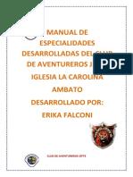 Manual de Especialidades Desarrolladas Del Club de Aventureros Jefte