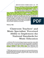Byo (1999) Classroom Teachers' and Music Specialists Perceived Ability to Implement the National Standards for Music Education