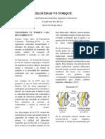 Velocidad vs Torque Caja de Cambio Cvt