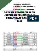 Daftar Kelompok Spok 2016 New