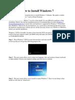 Steps in Installing Windows 7