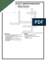 Crucigrama Moneras 1ro Secundaria