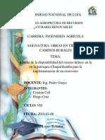 Reservorio chuquiribamba