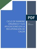 Ciclo de Rankine Orgánico y Sus Aplicaciones en La Recuperación de Calor
