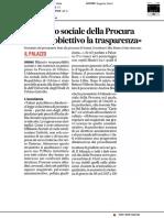 Presentato il bilancio sociale della Procura - Il Corriere Adriatico del 18 giugno 2019