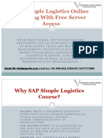 SAP Simple Logistics Online Training With Free Server