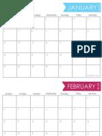 2019 Free Printable Calendar Horizontal