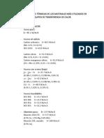 Conductividades Térmicas de Los Materiales Más Utilizados en Equipos de Transferencia de Calor