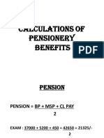 Cal of pensioner benefits