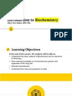 I. Introduction to Biochemistry