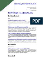 Noticias Del Jueves 06.06.2019