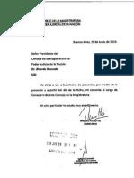 La carta de renuncia de Miguel Ángel Pichetto al Consejo de la Magistratura