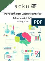 Percentage Questions for SSC CGL PDF