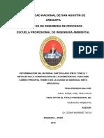 Determinación Del Material Particulado (Pm10 y Pm2.5) y Metale Carretera Moquegua 2018