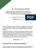 Work at a European NGO!