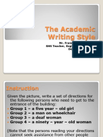1. the Academic Writing Style Intro. Act.