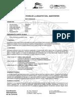 ARQ Plan AR14 - Teoria de La Arquitectura (Maestripieri) - Programa 2018-w