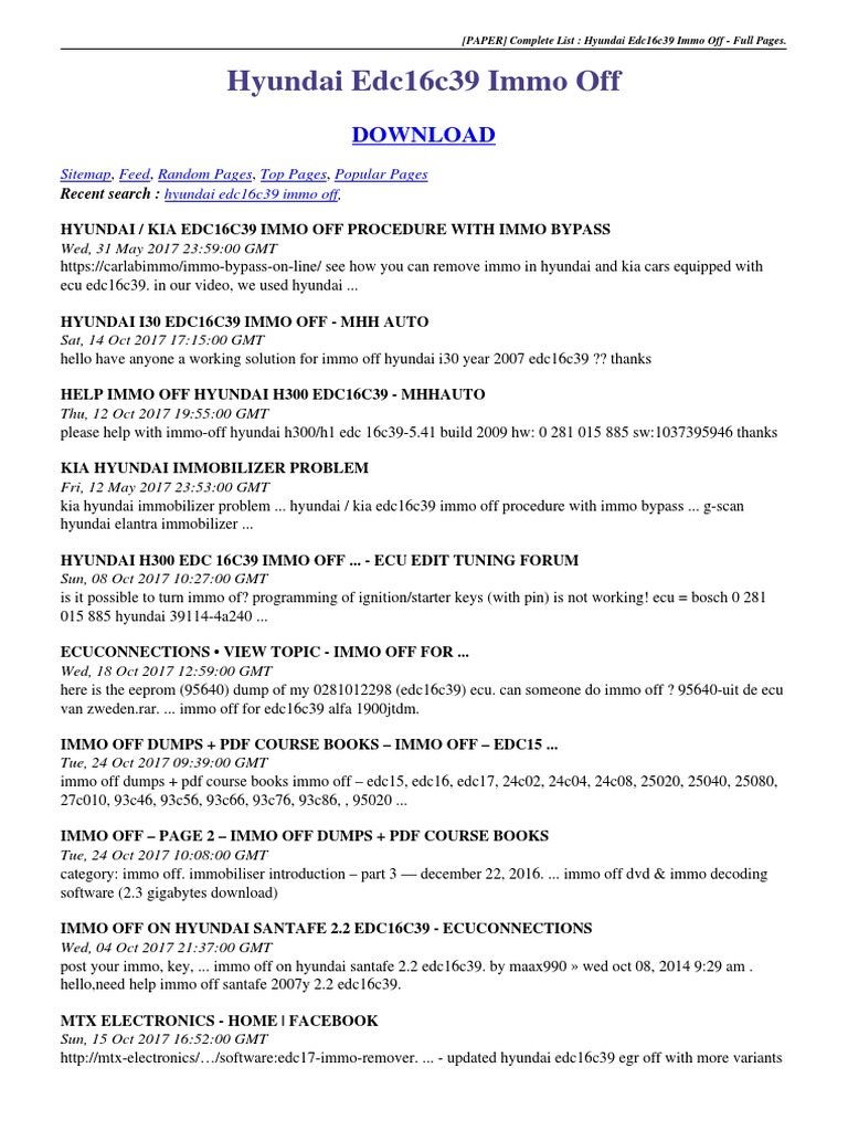 Hyundai Edc16c39 Immo Off pdf | Industria automotriz