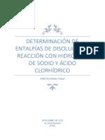DETERMINACIÓN DE ENTALPÍAS DE DISOLUCIÓN Y REACCIÓN CON HIDRÓXIDO DE SODIO Y ÁCIDO CLORHÍDRICO