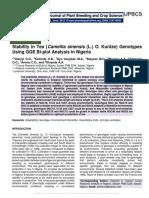 Stability in Tea {Camellia sinensis (L.) O. Kuntze} Genotypes Using GGE Bi-plot Analysis in Nigeria