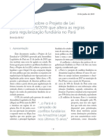 Nota Técnica sobre projeto que altera as regras para regularização fundiária no Pará