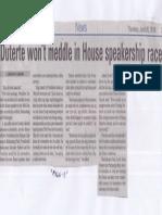 Manila Bulletin, June 20, 2019, Duterte wont meddle in House speakership race.pdf