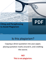 Citing and Paraphrasing to Avoid Plagiarism